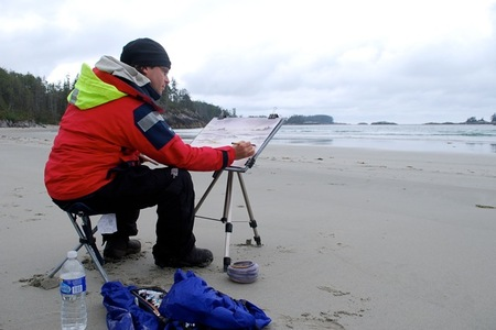 Watercolour artist David Mckeon painting at West Beach, Calvert Island
