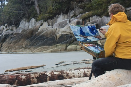 Landscape artist Dominik Modlinski oil painting on the outer west coast near Bella Bella.