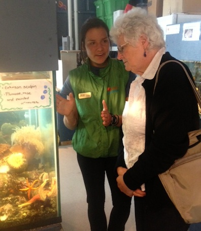 Quadra's Shayla Sopracolle-Tate in interpretive action at the aquarium