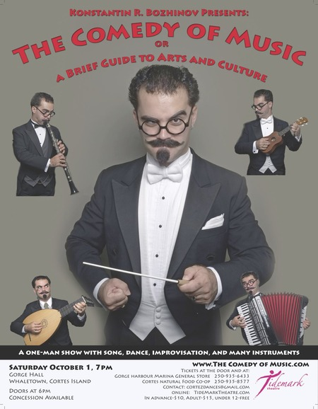 The Comedy of Music, A one-man show with song, dance, improvisation, and many instruments! Gorge Hall October 1, 7pm