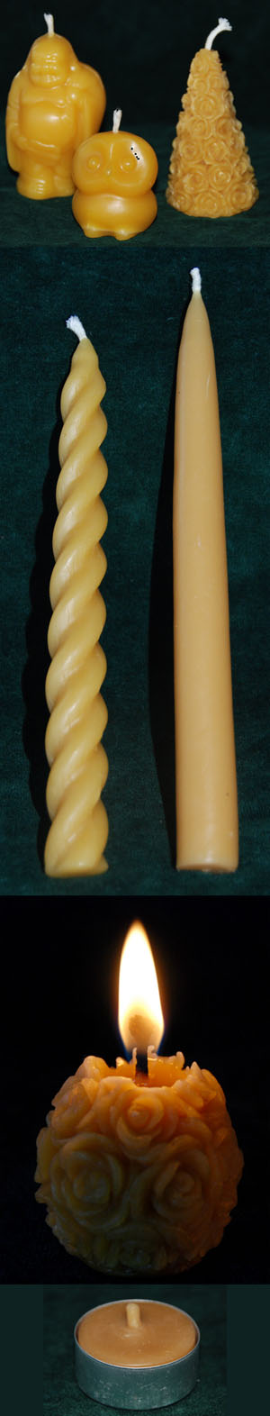 Pure Handcrafted Beeswax Candles in many shapes and sizes.