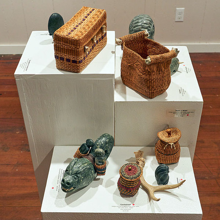 Amy Robertson, weaving, and Donna Naven, stone