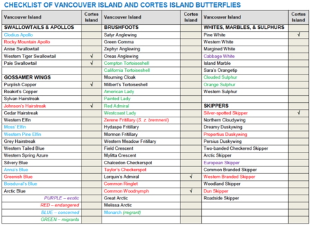 Cortes Island butterflies sightings table.