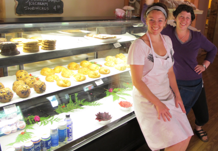 Baker Amy and Barista Jasmine with Bakegoods