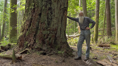 Ron Wolda with a big Douglas Fir out at Tiber Bay.