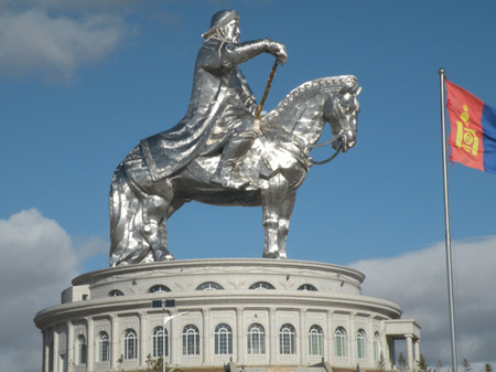 40 metre stainless steel statue commemorating Ghengis Khan in Mongolia.
