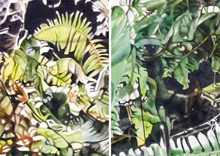 two abstract details of painting above